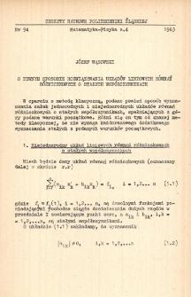O pewnym sposobie rozwiązywania układów liniowych równań różniczkowych o stałych współczynnikach