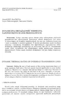 Dynamiczna obciążalność termiczna napowietrznych linii przesyłowych