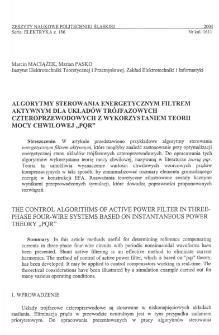 """Algorytmy sterowania energetycznym filtrem aktywnym dla układów trójfazowych czteroprzewodowych z wykorzystaniem teorii mocy chwilowej """"PQR"""""""