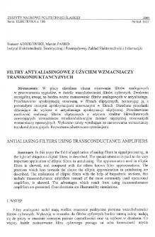 Filtry antyaliasingowe z użyciem wzmacniaczy transkonduktancyjnych