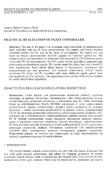 Practical realization of fuzzy controller