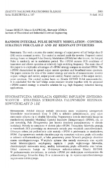 Random integral pulse density modulation - control strategy for class D and DE resonant inverters