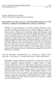 The effect of the coaxial transformer design on the winding currents distribution and flux density
