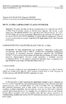 800 W, 16 MHz laboratory Class E inverter