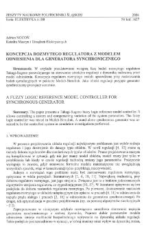 Koncepcja rozmytego regulatora z modelem odniesienia dla generatora synchronicznego