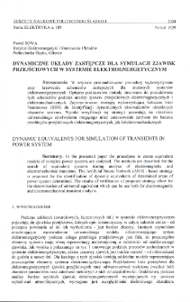 Dynamiczne układy zastępcze dla symulacji zjawisk przejściowych w systemie elektroenergetycznym