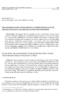 Transformatory pomiarowe o zmodyfikowanych strukturach i parametrach magnetowodów