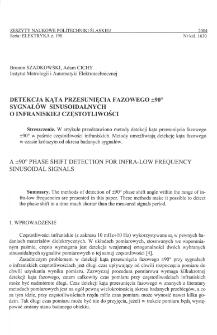 Detekcja kąta przesunięcia fazowego ± 90° sygnałów sinusoidalnych o infraniskiej częstotliwości
