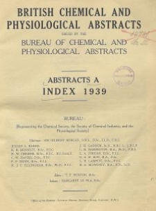 British Chemical and Physiological Abstracts. Abstracts A. Index 1939, Index of Subjects
