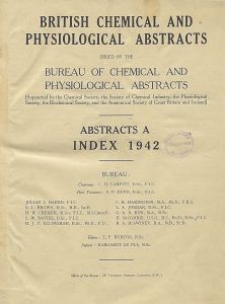 British Chemical and Physiological Abstracts. Abstracts A. Index 1942, Index of Subjects