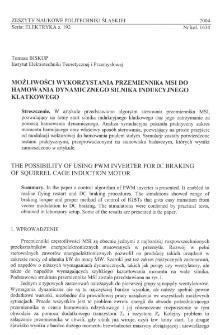 Możliwości wykorzystania przemiennika MSI do hamowania dynamicznego silnika indukcyjnego klatkowego