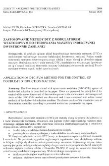 Zastosowanie metody DTC z modulatorem wektorowym do sterowania maszyny indukcyjnej dwustronnie zasilanej