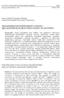 Transformator współosiowy liniowy - idea konstrukcji oraz podstawowe właściwości