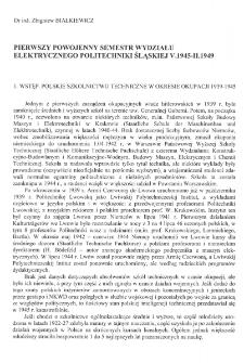 Pierwszy powojenny semestr Wydziału Elektrycznego Politechniki Śląskiej V 1945-II 1949