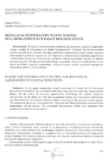 Regulacja temperatury wanny wodnej do laboratoryjnych badań biologicznych
