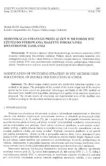 Modyfikacja strategii przełączeń w metodzie DTC użytej do sterowania maszyny indukcyjnej dwustronnie zasilanej