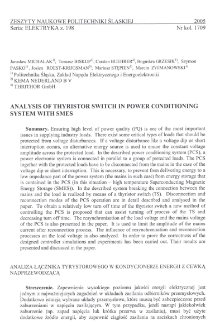 Analysis of thyristor switch in power conditioning system with SMES