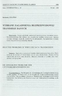 Wybrane zagadnienia bezprzewodowej transmisji danych