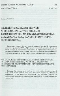 Architektura klient-serwer w heterogenicznych sieciach komputerowych na przykładzie systemu zarządzania bazą danych firmy Gupta Technologies TM