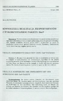 Równoległa realizacja eksperymentów z wykorzystaniem pakietu DarP