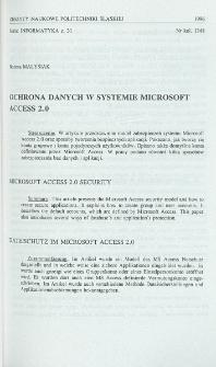 Ochrona danych w systemie Microsoft Access 2.0