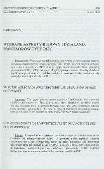Wybrane aspekty budowy i działania procesorów typu RISC