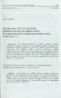 Przykłady użycia technik zorientowanych obiektowo do zarządzania pamięcią operacyjną w języku C++