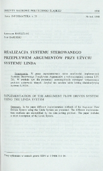 Realizacja systemu sterowanego przepływem argumentów przy użyciu systemu LINDA