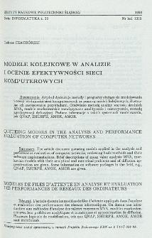 Modele kolejkowe w analizie i ocenie efektywności sieci komputerowych