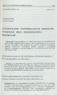 Zastosowanie uniwersalnych modułów interfejsu sieci przemysłowej PROFIBUS-DP