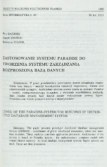 Zastosowanie systemu Paradise do tworzenia systemu zarządzania rozproszoną bazą danych