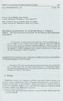 Modele Markowa w ocenie pracy węzła sieci - wyznaczanie strat w funkcji rozmiaru pakietu