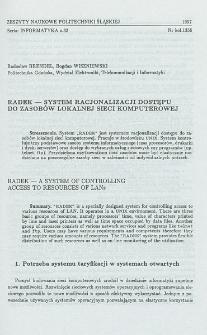 RADEK - system racjonalizacji dostępu do zasobów lokalnej sieci komputerowej