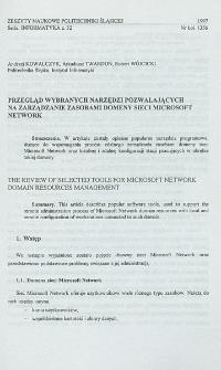 Przegląd wybranych narzędzi pozwalających na zarządzanie zasobami domeny sieci Microsoft Network