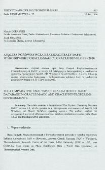 Analiza porównawcza realizacji bazy DaFiT w środowisku Oracle/Magic i Oracle/Developer 2000