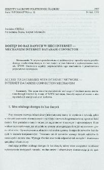 Dostęp do baz danych w sieci Internet - mechanizm Internet Database Connector