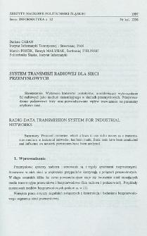 System transmisji radiowej dla sieci przemysłowych