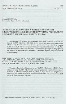 Integracja baz danych w heterogenicznych środowiskach sieci komputerowych na przykładzie serwerów MS SQL Server I GUPTA SQLBase