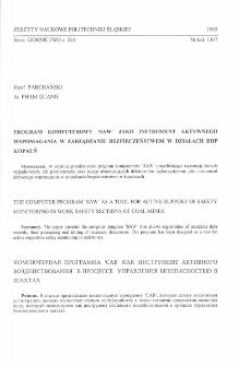"""Program komputerowy """"SAW"""" jako instrument aktywnego wspomagania w zarządzaniu bezpieczeństwem w działach BHP kopalń"""