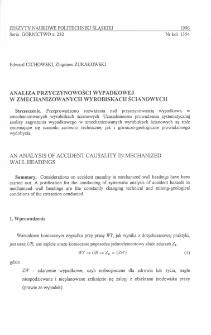 Analiza przyczynowości wypadkowej w zmechanizowanych wyrobiskach ścianowych