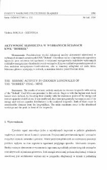 """Aktywność sejsmiczna w wybranych ścianach KWK """"Bobrek"""""""