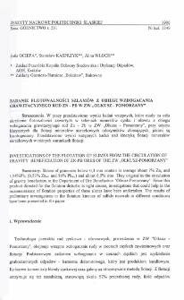 """Badanie flotowalności szlamów z obiegu wzbogacania grawitacyjnego rud ZN-Pb w ZW """"Olkusz-Pomorzany"""""""