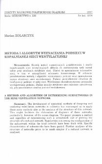 Metoda i algorytm wyznaczania podsieci w kopalnianej sieci wentylacyjnej