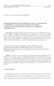 Sposób projektowania eksploatacji w warunkach zagrożenia tąpaniami w oparciu o wyniki analitycznych prognoz rozkładu naprężeń i deformacji