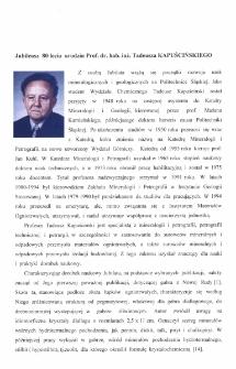 Jubileusz 80-lecia urodzin Prof. dr. hab. inż. Tadeusza Kapuścinskiego