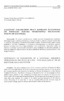 Zależność parametrów pracy kombajnu ścianowego od podziałki zębatki sworzniowej mechanizmu posuwu BP (EICOTRAK)