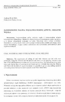 Zawiesinowe paliwa węglowo-wodne (ZPWW). Mielenie węgla