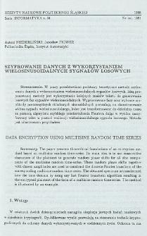 Szyfrowanie danych z wykorzystaniem wielosinusoidalnych sygnałów losowych