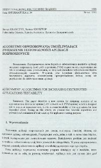 Algorytmy odwzorowania umożliwiające zwiększenie testowalności aplikacji rozproszonych