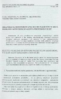 Organizacja monitorowania ruchu pakietów w sieci, problemy konstrukcji agenta protokołu SLMP